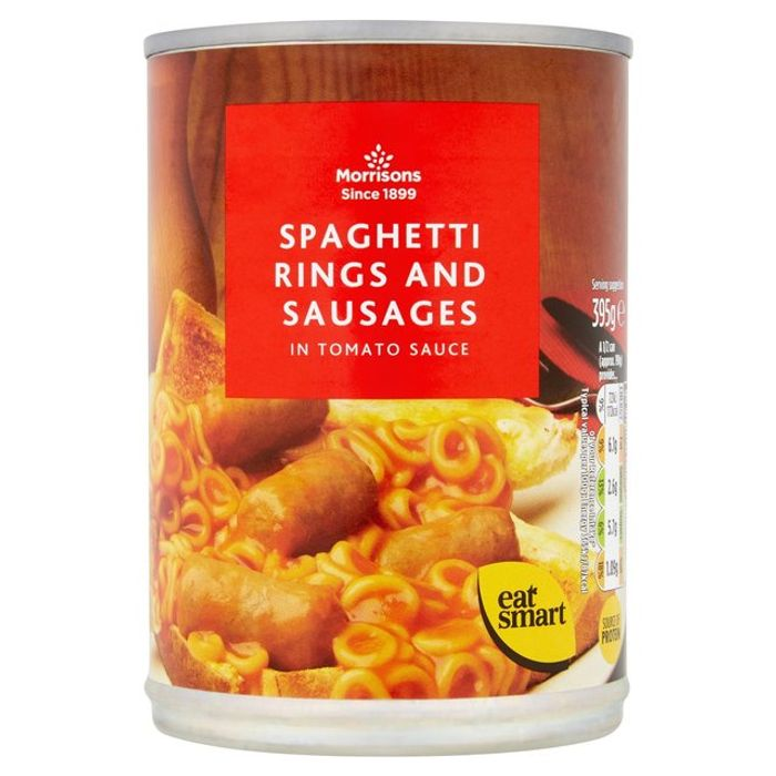 Morrisons Spaghetti Rings with Sausages in Tomato Sauce 395g
