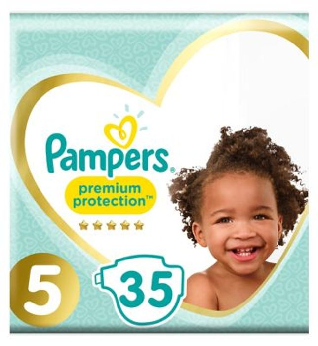 Pampers Premium Protection Size 5, 35 Nappies, 11-16kg with 50% Discount!