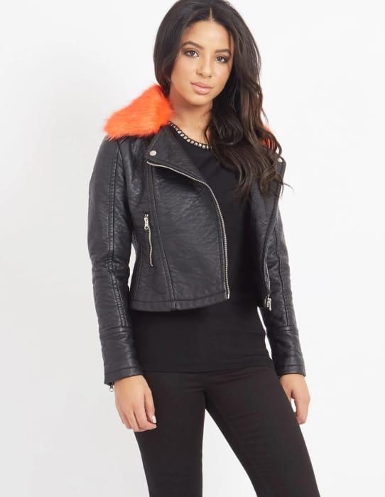 Orange Faux Fur Biker Jacket