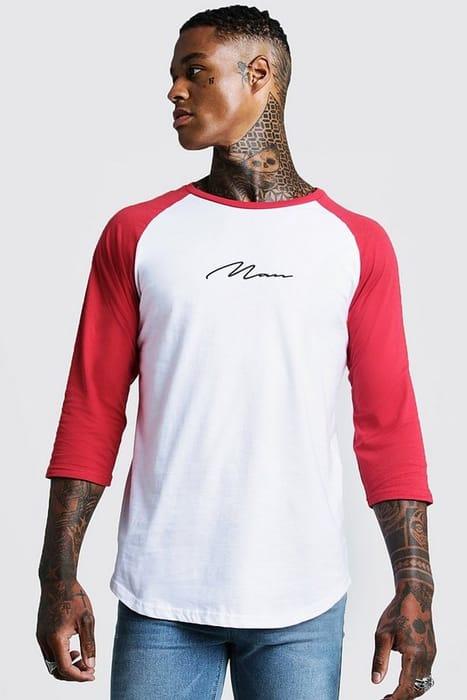 Man Signature Raglan T-Shirt with 3/4 Sleeve