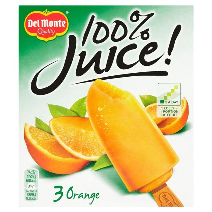 Del Monte 100% Orange Juice Lollies 3 X 75ml - HALF PRICE