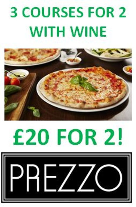 PREZZO BARGAIN! Fancy a 3 course meal with wine for just £10 each?