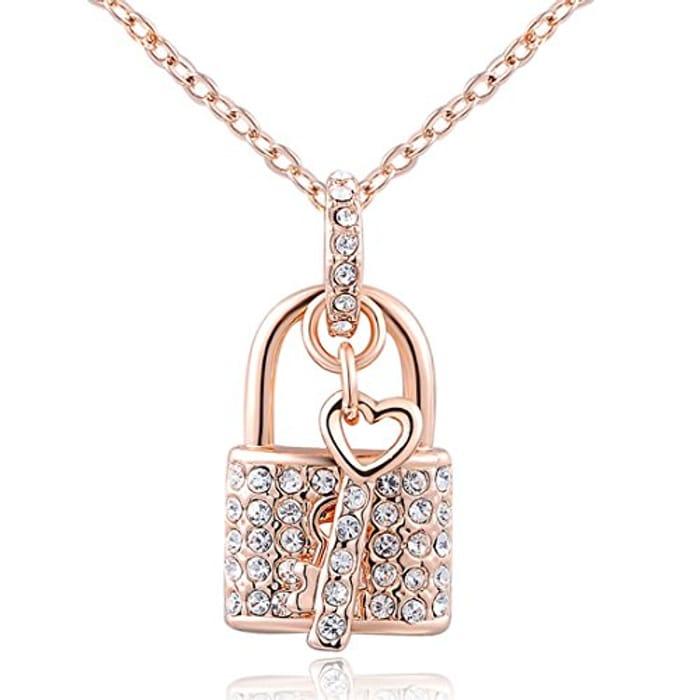 Lady Jewelry Pendant Rose Gold Century Blockade Chain Necklace