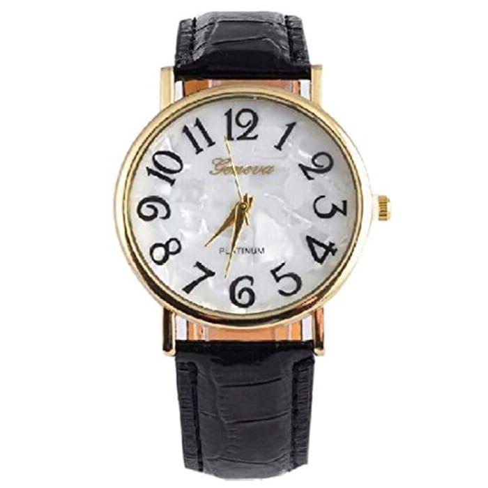 Classic Easy to See Big Digit Analogue High Vision Quartz Wrist Watch -Black