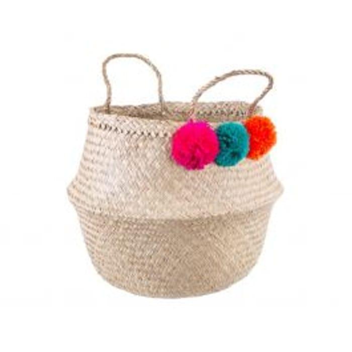 Best Price 2 Sass & Belle Seagrass Summer Pom Pom Storage Basket