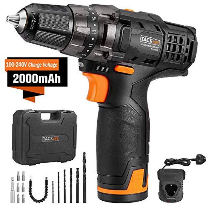 12V Cordless Drill Driver with 13pcs Accessories - save £17