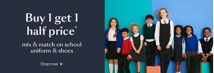Buy 1 Get 1 Half Price Mix & Match on School Shoes & Uniform + Free Delivery