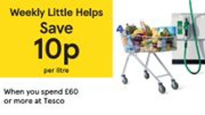 Spend £60 at Tesco and Receive 10p off per Litre of Fuel