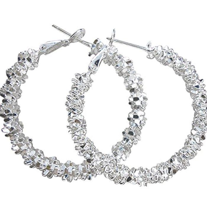 Women Jewelry Silver Plated Stars Hoop Earring