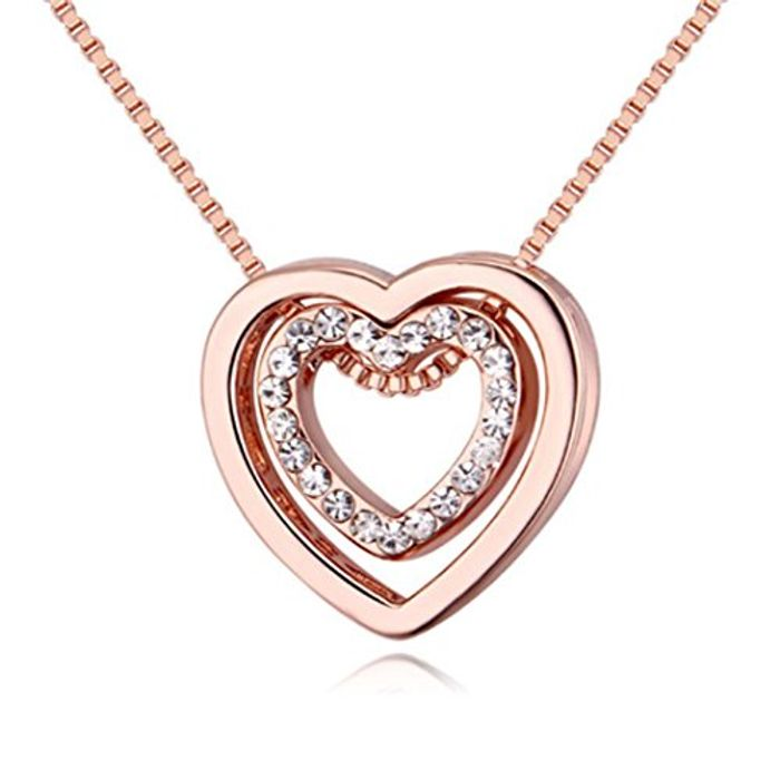 Crystal Double Heart Pendant Necklace,