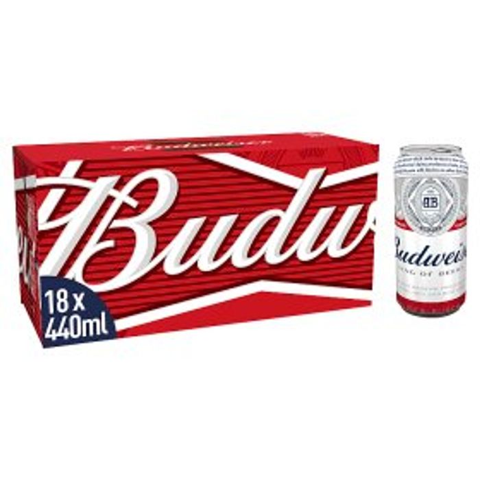 Budweiser Lager Beer Cans 18 X 440ml - £5 off at ASDA