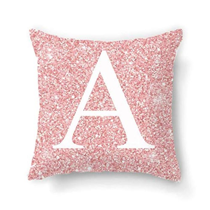 Household Pink Letter Pattern Pillowcase Alphabet Cushion Case Pillowcases