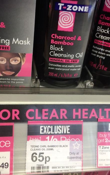 T-Zone Charcoal & Bamboo Black Cleansing Oil