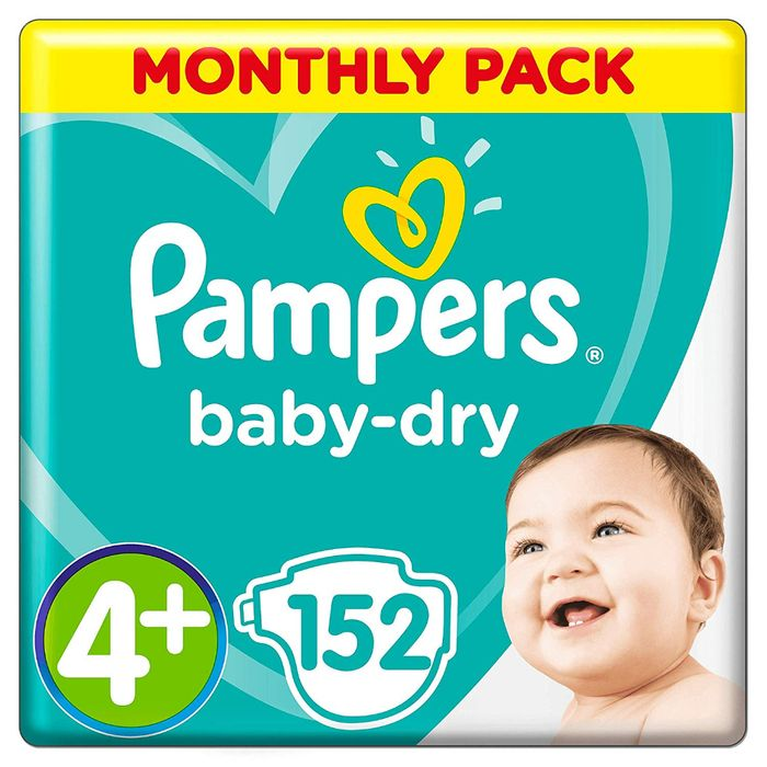 Pampers Baby-Dry Size 4+, 152 Nappies - Save 53%