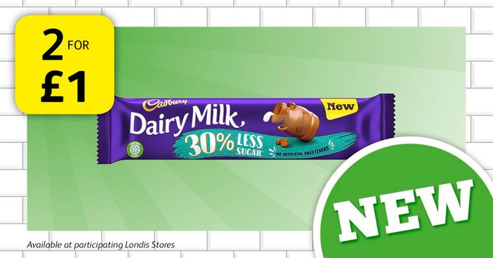 2 for 1 on Cadbury Dairy Milk with 30% Less Sugar