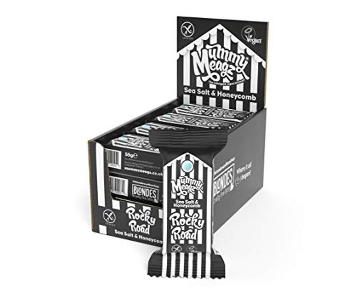 Mummy Meagz Vegan Rocky Road Chocolate Bars 12 Pack (Sea Salt & Honeycomb)