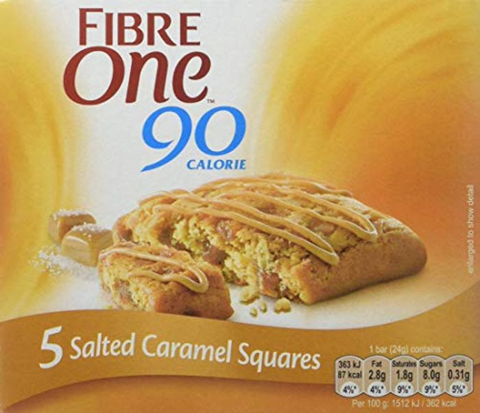 Best Price! Fibre One 90 Calorie Salted Caramel Squares 24g (Pack of 25 Squares)