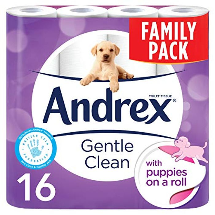 Andrex Gentle Clean Toilet Tissue, 16 Rolls (Amazon Pantry)