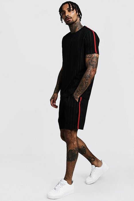 Pinstripe T-Shirt & Short Set with Side Tape