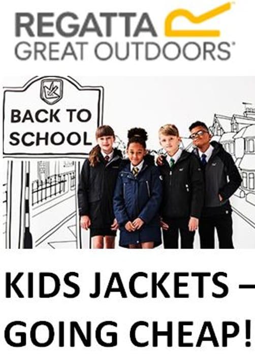 KIDS JACKETS 50% 60% 70% OFF - BACK TO SCHOOL DEALS at Regatta