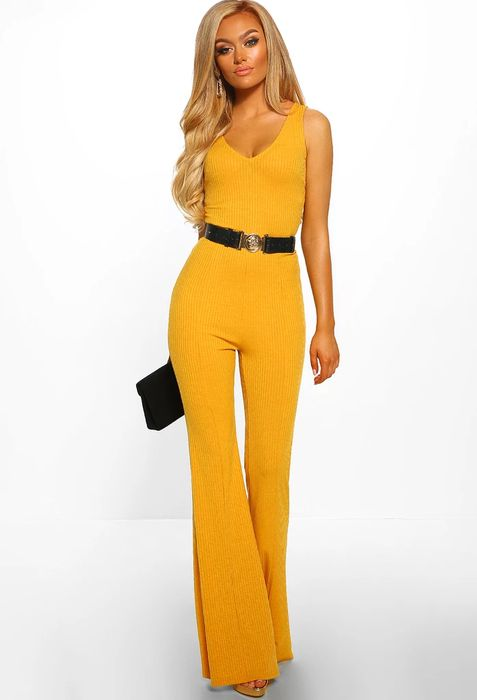 Warm Welcome Mustard Ribbed Flared Leg Jumpsuit