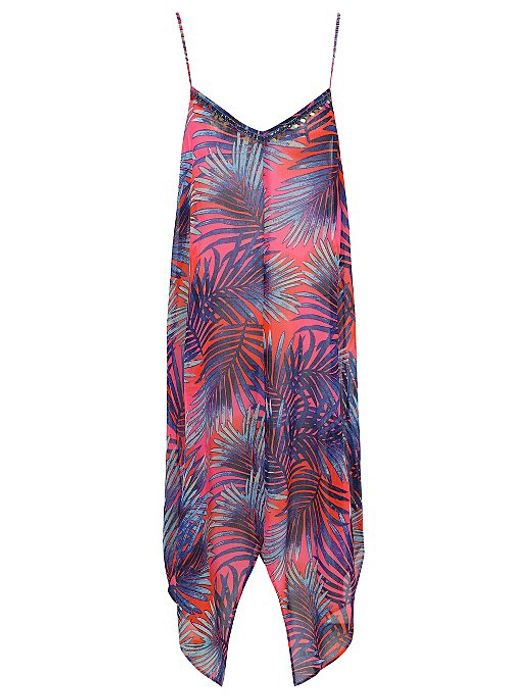 Ombr Palm Sequin Cover up Dress