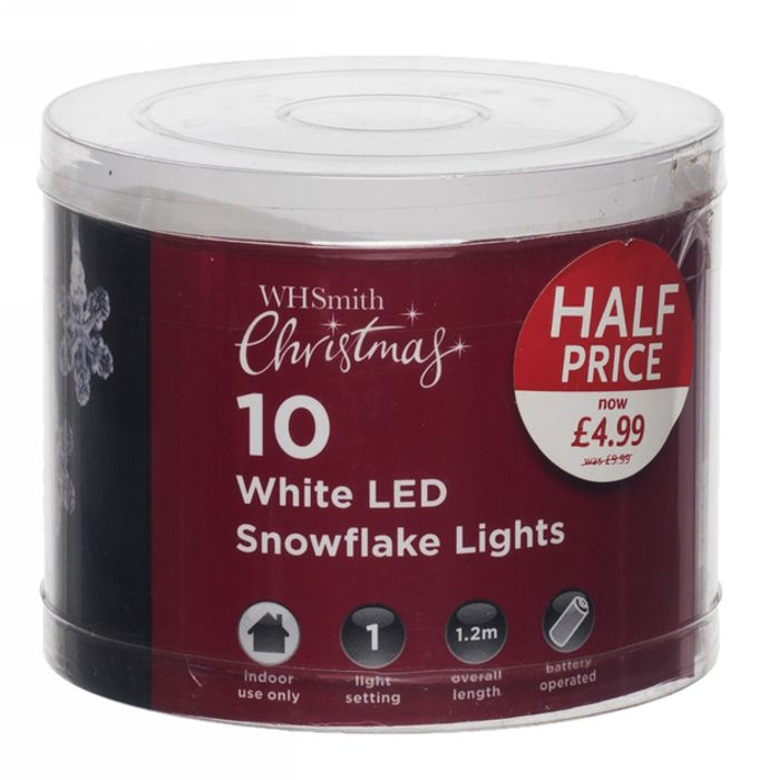 WHSmith 10 White LED Snowflake Lights