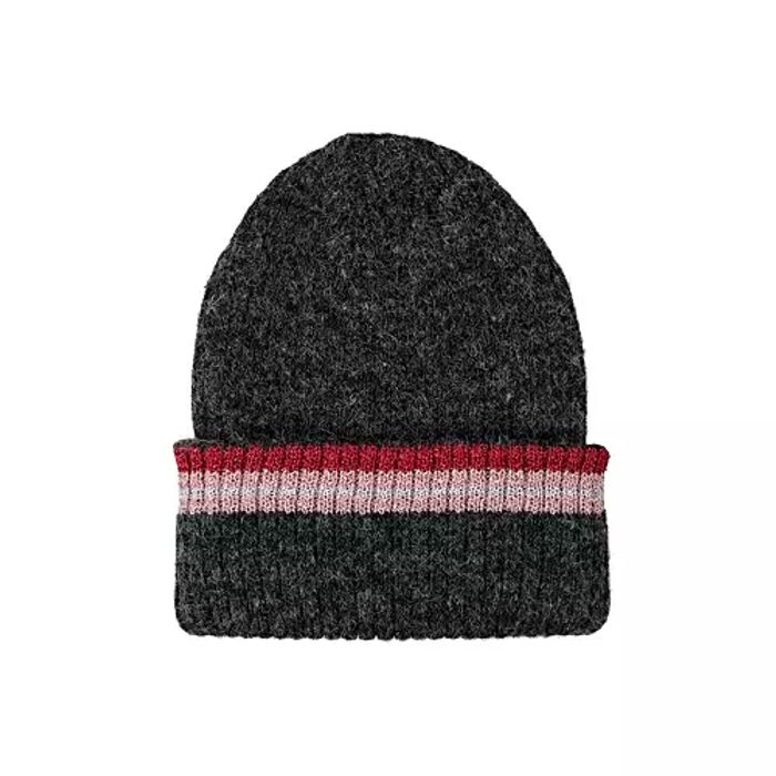 Striped Rib Turn up Charcoal Beanie Hat