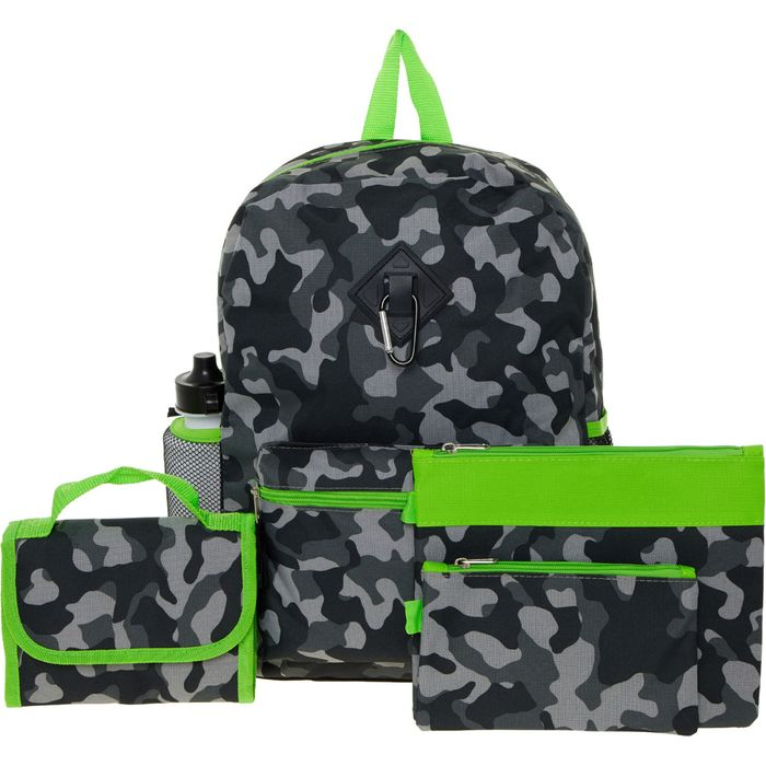 Great Value Grey Camouflage Backpack Six Piece Set