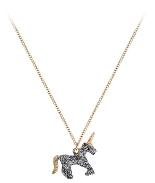 Silver Glitter Unicorn Necklace