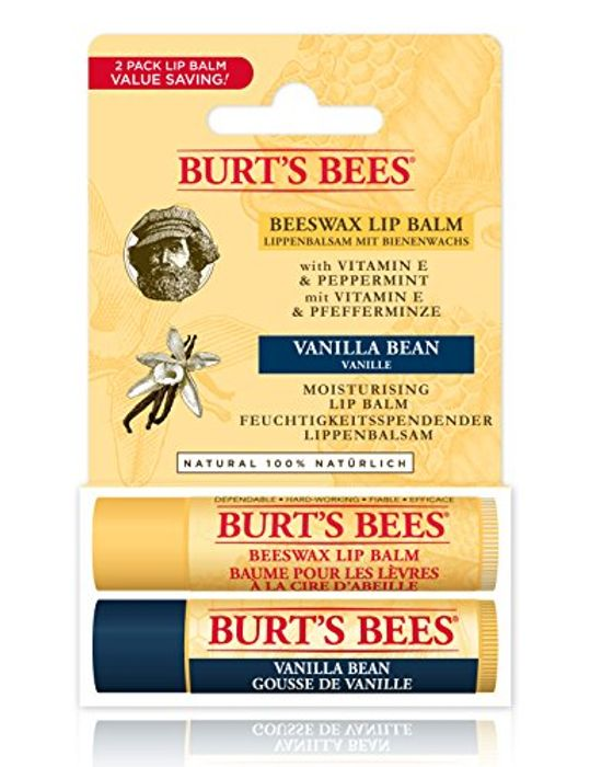 Burt's Bees 100% Duo Pack Natural Lip Balm, Beeswax & Vanilla Bean FREE DELIVERY