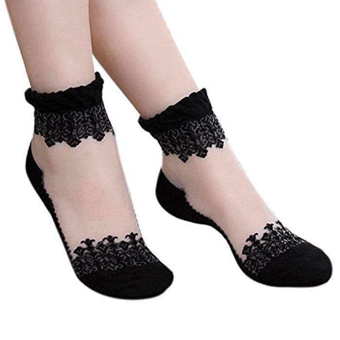 Sanwood Ultrathin Transparent Lace Short Socks FREE DELIVERY