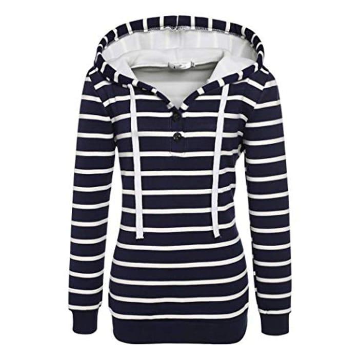 Ladies Casual Hooded Lone Sleeved Striped Jumper