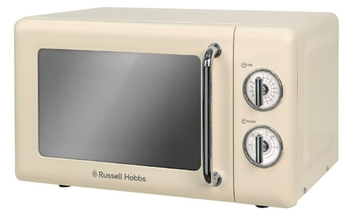 SAVE £19 - Russell Hobbs Manual Retro Microwave - Cream - 17 Litre