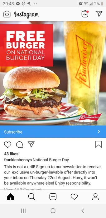 Free Burger Brought with a Budwiser or Coke