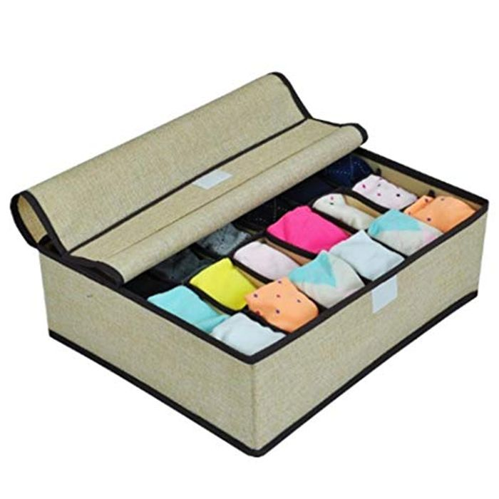 24-Grid Collapsible Drawer Organiser with Dividers