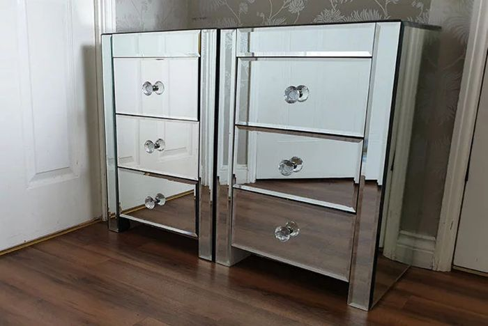 2 Three-Drawer Mirrored Bedside Tables