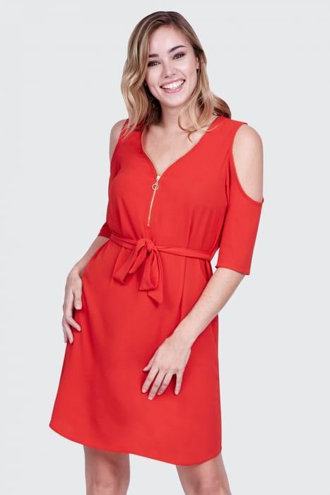 Red Cold Shoulder Zip Front Shirt Dress Size 6
