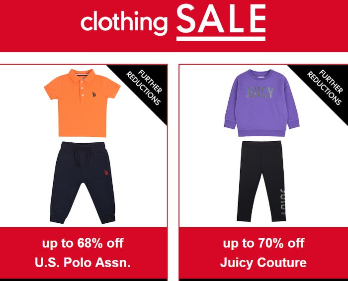 Further Reductions Inc 68% off US Polo & 70% Juicy Couture at Mothercare