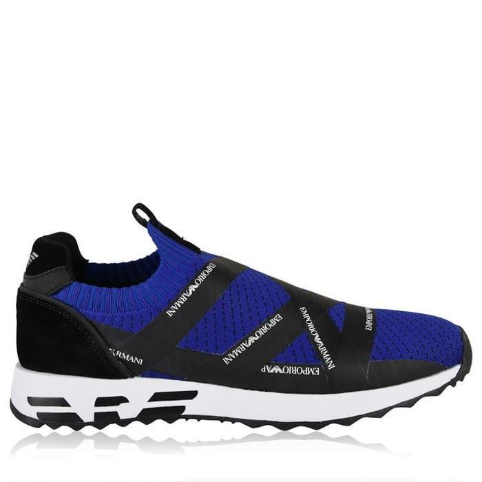 Black & Blue Emporio Armani Arco Runner Trainers - Flannels