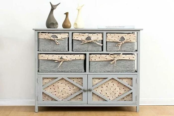 Grey Paulownia Wood Chest of Drawers with Wicker Baskets