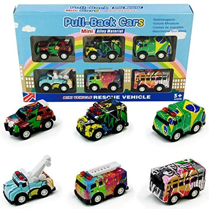 Pull Back Mini Toy Cars Set (6 Pcs) Only £3.99