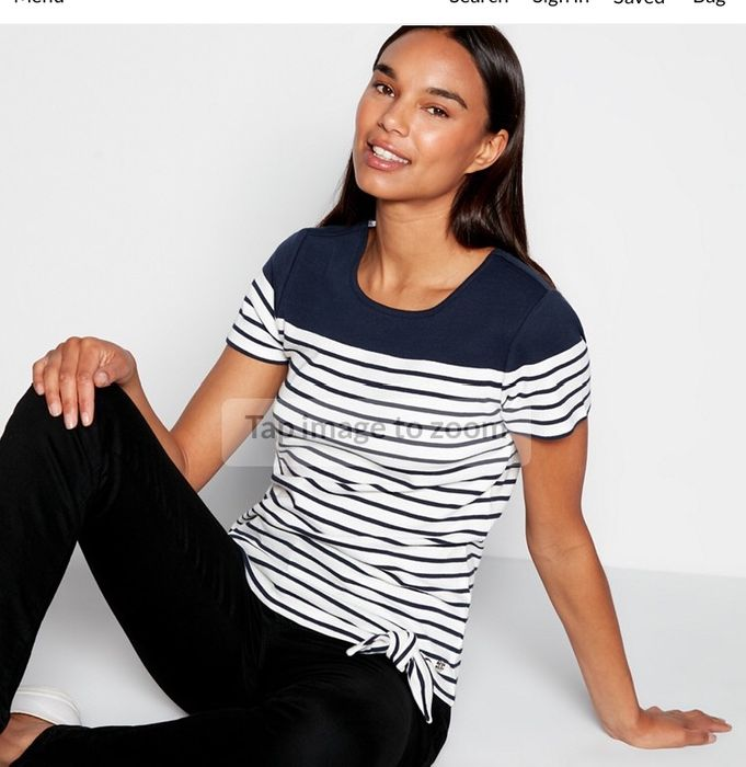 Maine New England - Navy Stripe Print Cotton T-Shirt