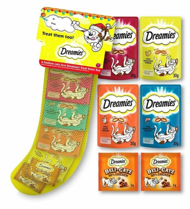 Dreamies Mixed Cat Treats Xmas Christmas Stocking 6-Pack