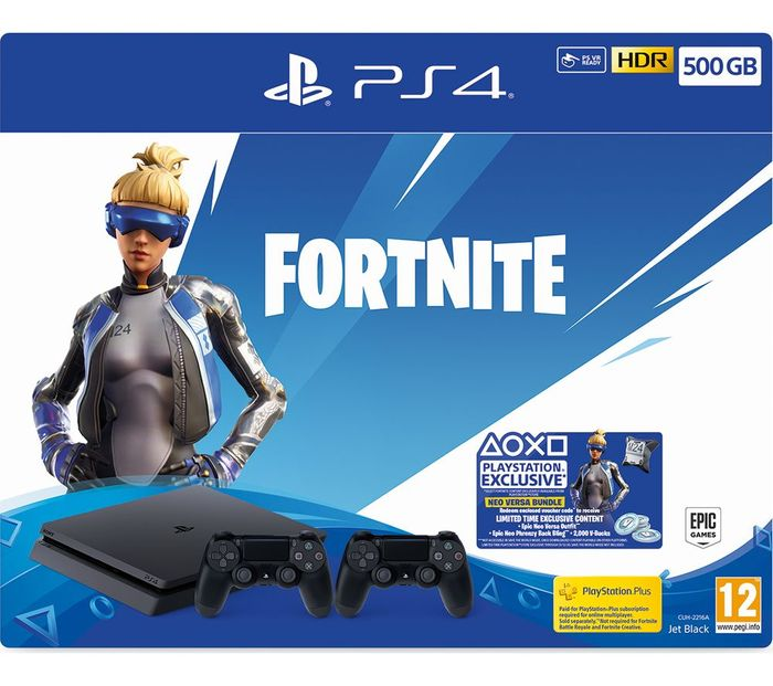 PlayStation 4 with Fortnite Neo Versa & Two Wireless Controllers - 500 GB