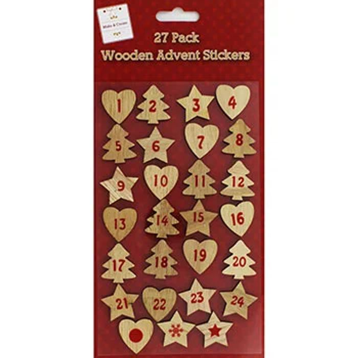 Lovely Wooden Advent Stickers - 27 Pack