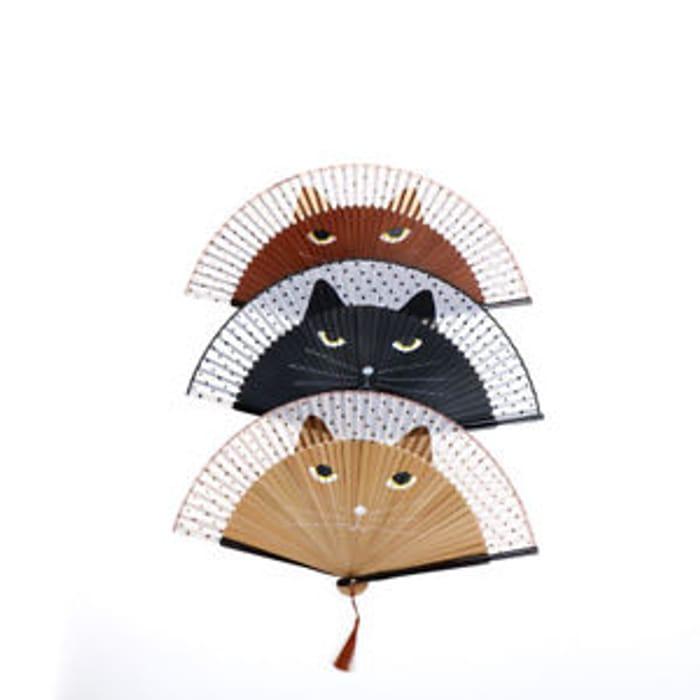 Japanese Silk Bamboo Hand Fan Cartoon Cat Cosplay Dance Folding Fan Party