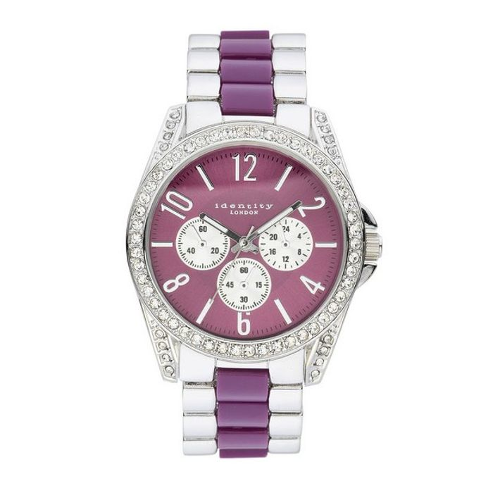Best Price Identity Lux Two Tone Purple Dial Bracelet Watch