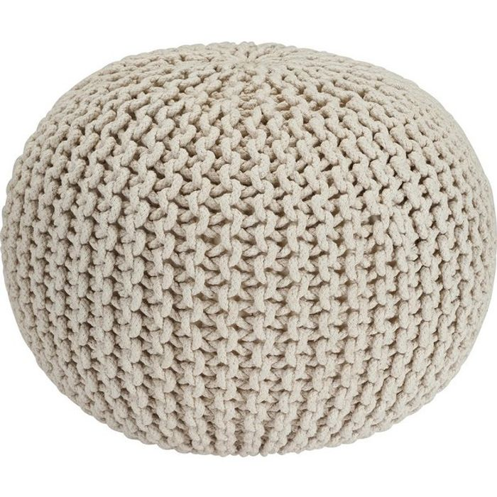 Argos Home Cotton Knitted Pod Footstool - Natural