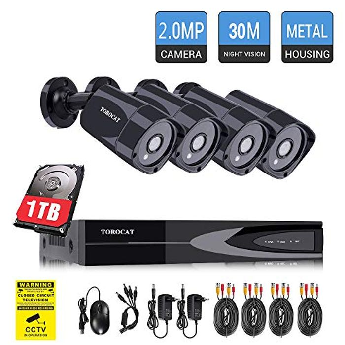 TOROCAT 4x1080P CCTV Cameras & 4 Channel DVR CCTV Kit with 1TB HDD